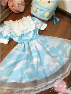 Kawaii Girls Lolita Blue Sky & White Clouds Double Layers Dress Organza Fairy Kei One-piece Harajuku Fashion, Kawaii Fashion, Lolita Fashion, Cute Fashion, Fashion Outfits, Boy Fashion, Boy Outfits, Cute Casual Outfits, Pretty Outfits