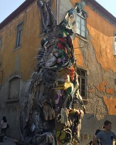 See on the streets of Porto Portugal. We've already seen quite a bit of street art in the few hours we've been here but this is just fantastic. A well executed sculpture from rubbish. So far Porto seems to have all we need.  #visavistravel #traveldeeper #travelporto