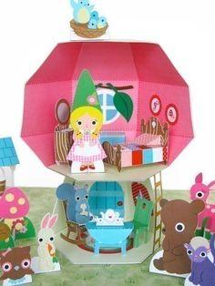 Adorable Folded Paper Mushroom Dollhouse Playset @FantasticToys on Etsy