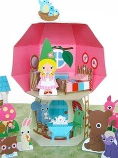 Adorable Folded Paper Mushroom Dollhouse Playset @FantasticToys on Etsy
