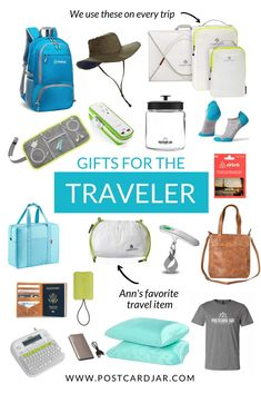 We put together this list of great gift ideas for travelers. Are you looking for a perfect present this holiday season for a person who loves to travel. Find it on this list. We have something for everyone, from stocking stuffers to big gifts, you'll find an item for those who love travels, journeys, and adventure. We share ideas for traveling on the road, in airports, airplanes, trains and on ships and cruises. #HolidayGiftGuide #GiftsForTravelers #GiftsForTravel via @Postcard Jar
