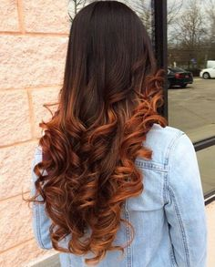 Beautiful Long Wavy Dark Brown to Copper Balayage Hair