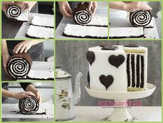 This Chocolate Stripe Cake is so gorgeous and delicious as well .It's made with a chocolate roulade, vanilla cake for the base and top and buttercream to Food Cakes, Cupcake Cakes, Gorgeous Cakes, Amazing Cakes, Chocolates, Chocolate Roulade, Chocolate Cake, Marble Chocolate, Delicious Chocolate