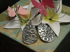 Fine Silver Textured Teardrop Earrings  PMC  Silver by Silvermaven, $33.00