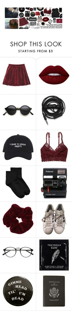 """""""do u work at the post office bc i saw u checkin' out my package"""" by miabrook ❤ liked on Polyvore featuring Lime Crime, Urbanears, American Eagle Outfitters, Hue, Polaroid, Miss Selfridge, adidas, TokyoMilk and Smythson"""