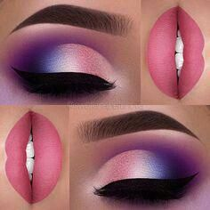 Pink und lila Augen und Lippen Make-up Idee - Makeup Makeup Goals, Makeup Inspo, Makeup Inspiration, Makeup Tips, Makeup Ideas, Makeup Tutorials, Makeup Trends, Beauty Trends, Beauty Tips