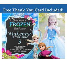 Frozen Invitation, Frozen birthday invitation, Frozen summer invitation, Frozen photo invitation 039 by sohappyshop on Etsy https://www.etsy.com/listing/237748434/frozen-invitation-frozen-birthday