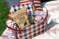 Our Star-Spangled Banners are Waving in anticipation of Independence Day! I'm Proudly Hailing my love of Red, White & Blue AND Picnic Love~ in one portable toting package~ this Vintage-Style …