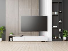 Tv on wall have cabinet in modern empty . Tv Unit Interior Design, Tv Unit Furniture Design, Media Furniture, Hallway Furniture, Modern Tv Room, Modern Tv Wall Units, Modern Living, Contemporary Tv Units, Modern Wall