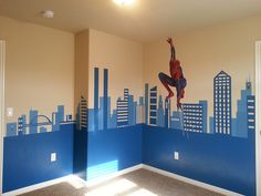 Mural for my 4 year old son's room.  Spiderman is a vinyl sticker from Amazon, the rest is hand-painted. Spiderman   Flickr - Photo Sharing!