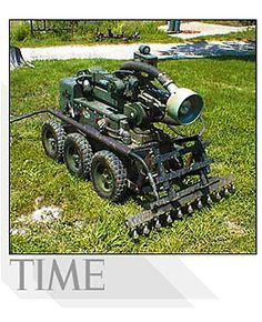 Landmine Destroyer (2002):  By shooting water into a minefield and monitoring sounds, the system can detect and disarm explosives without setting them off.