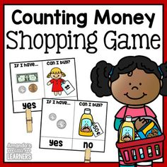 Counting Money Shopping Game Let students practice counting money and seeing the worth with this set of clip cards! Students can count the amount of money on each card, look at the object with a price, and clip whether or not they can afford to buy it.
