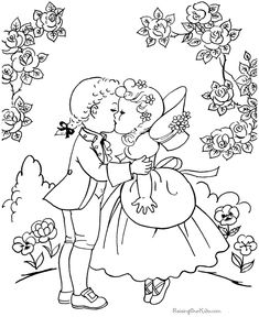 new Ideas embroidery patterns tree vintage coloring pages Vintage Coloring Books, Coloring Book Pages, Coloring Pages For Kids, Coloring Sheets, Adult Coloring, Valentines Day Coloring Page, Christmas Coloring Pages, Vintage Embroidery, Embroidery Patterns