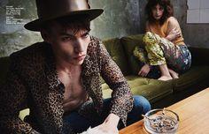 Josh wears Shirt & jeans / Beyond Retro  Coat / Topman archive Hat / Moody & Farrell Pendant / Stylist's own Milly wears Jumper / Julie Eile...