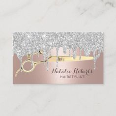 Hair Stylist Silver Drips Rose Gold Beauty Salon Business Card Beauty Business Cards, Salon Business Cards, Hairstylist Business Cards, Elegant Business Cards, Business Card Logo, Glitter Hair, Rose Gold Glitter, Salon Gold, Nail Salon Decor