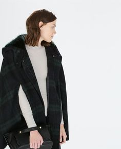Image 2 of HOODED CHECKED WOOL CAPE from Zara