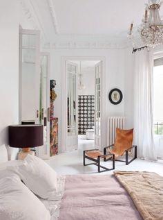 on trend: bohemian whimsy. Modern Interior Design, Interior Design Inspiration, Pink Chandelier, Traditional Lanterns, Bedroom Inspo, Bedroom Inspiration, Vintage Wall Sconces, Elle Decor, New Room