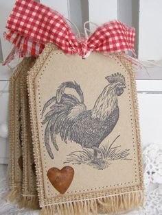Rustic Rooster Burlap Country Gift Tags by PaperBistro