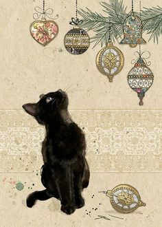 Vintage Christmas Black Cat Looking At Ornaments Postcard Vintage Christmas Cards, Christmas Cats, Vintage Cards, Christmas Paper, Funny Christmas, Christmas 2016, Christmas Ideas, Christmas Sweets, Christmas Pictures