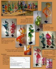 Chihuly Art Lesson Lilli Lackey - Lesson Plan for teaching Chihuly and then making colorful acetate scuptures that mimic his flow (Light, color, and form. 3d Art Projects, School Art Projects, Art Education Projects, Sculpture Lessons, Sculpture Projects, Sculpture Ideas, Art Sculptures, High School Art, Middle School Art