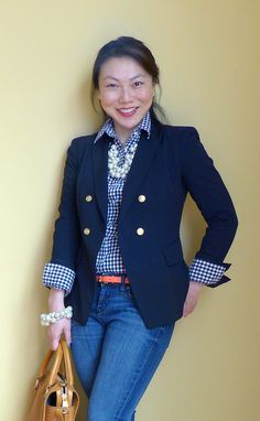 gingham, pearls, blazer by respect the shoes, via Flickr