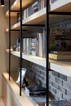 45 Comfy Bookshelves Design Enhance Beauty Family Room - Page 8 of 47 Bookshelf Room Divider, Bookshelves In Bedroom, Cool Bookshelves, Bookshelf Storage, Bookshelf Design, Bookshelf Ideas, Bookshelf Styling, Industrial Bookshelf, Industrial Apartment