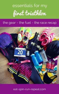 Essentials for my first triathlon: The gear, the fuel, and the race recap! Half Ironman Training Plan, Triathlon Training Program, Triathlon Gear, Ironman Triathlon, Training Programs, Triathlon 2016, Marathon Training, Triathlon Motivation, Running Motivation