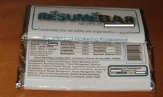Nick Begley, from New York, sent in his 'resume bar' as an application for two jobs with his skills printed under the 'ingredients' section of the wrapper.