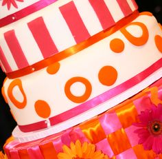 Pink and Orange Ribbons w/ flowers