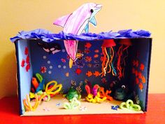 Ocean habitat shoebox diorama. 1st grade assignment.