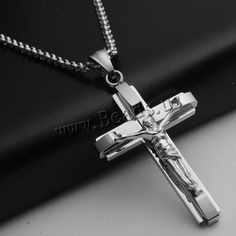 Pendentifs en acier inoxydable de la Croix-, Acier inoxydable 316, Crucifix, couleur originale, 32x62x6mm, Trou:Environ 3-5mm