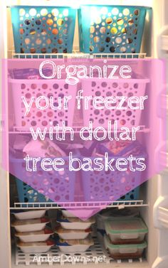 Spring clean and organize your freezer with dollar tree baskets. Keep your freezer clutter free on the cheap. Perfect for couponers, buying in bulk, families, and anyone else. Deep Freezer Organization, Freezer Storage, Refrigerator Organization, Kitchen Organization, Storage Organization, Freezer Meals, Storage Ideas, Organize Freezer, Freezable Meals