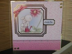 Handmade Card - Just For You Cute Rabbit and Flower