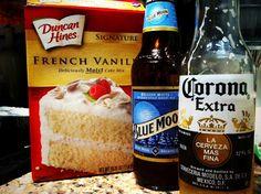 Blue Moon & Corona Cupcakes... uses cake mix