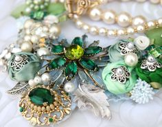 old broaches, mismatched earrings etc. become a necklace