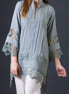 Tops For Women chinese collar dad shirts – moiliky Sleeves Designs For Dresses, Dress Neck Designs, Stylish Dress Designs, Sleeve Designs, Blouse Designs, Pakistani Fashion Casual, Pakistani Dresses Casual, Pakistani Dress Design, Casual Dresses