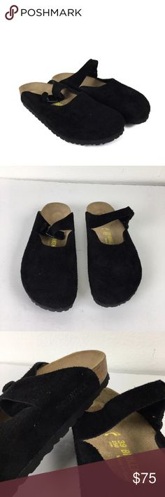 Birkenstock Boston Mules Clogs Suede Slip On Shoe Name Brand: Birkenstock  Condition: Pre Owned, Excellent condition never just tried on and stored, no holes, stains or flaws to note  Size: 8   Color: Black  Style: Boston Clog  Material: Suede Cork Birkenstock Shoes Mules & Clogs