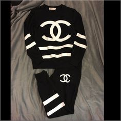 Chanel Sweatsuit Really cute Chanel sweatsuit! Not authentic, but still bought for a very expensive price. Really comfortable, and warm, just too small for me now. I would rather have it a little baggier. Kind of fitted, runs true to size. PINK Victoria's Secret Other