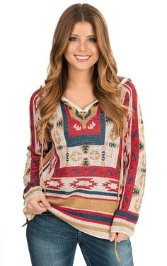 Flying Tomato Women's Red Multicolor Aztec Pattern Long Sleeve Hooded Sweater   Cavender's