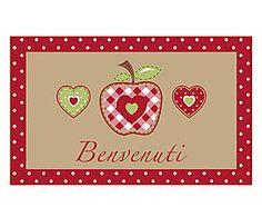 Zerbino in cocco Mela rosso e beige - 75x45x2 cm Shabby, Romantic, Fantasy, Cards, Beige, Accessories, Romance Movies, Fantasy Books, Maps