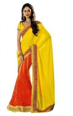 Beautiful Yellow & Orange Color #Ethnic #Saree