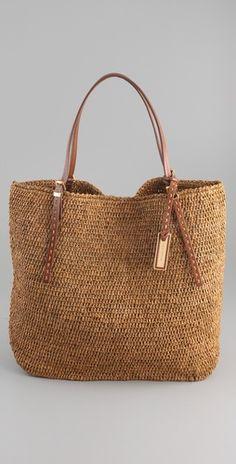 <3 straw bag /w leather