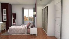 dormitorio matrimonial con baño y vestidor - Buscar con Google Bedroom Closet Design, Small Room Bedroom, Closet Designs, Master Bedroom Design, Dream Bedroom, Home Bedroom, Bedroom Decor, Wardrobe Behind Bed, Mexican Bedroom