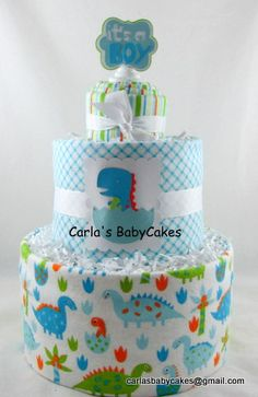 Dinosaur diaper cake  Boy diaper cake  Baby by MsCarlasBabyCakes