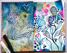 Pages from Helen Wells's sketchbook #sketchbook #pattern #colour