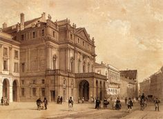 TEATRO ALLA SCALA OPERA HOUSE  ~A nineteenth-century depiction.