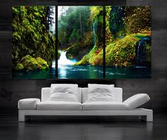 LARGE 30x 60 3 Panels Art Canvas Print beautiful by BoxColors, $119.00