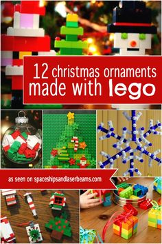 christmas-ornaments-made-from-lego-instructions Do your boys think they're too old for Christmas crafting fun? They'll love these Lego Christmas ornament ideas and so will you! Lego Christmas Ornaments, Noel Christmas, Christmas Crafts For Kids, Christmas Activities, Homemade Christmas, Christmas Projects, Holiday Crafts, Christmas Decorations, Christmas Tables