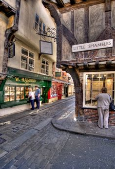 The Tudor street in York, England