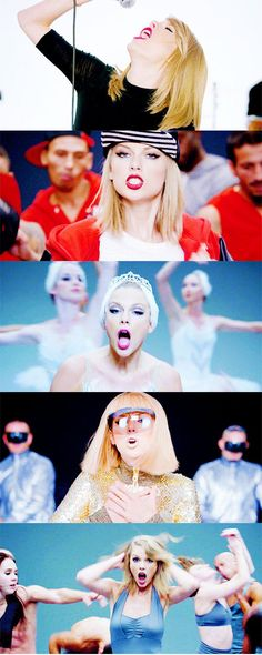 Each stage of the Shake It Off music video <3 (gifset: http://my-favourite-is-gouda.tumblr.com/post/95472517882/taylor-swift-1989-stages)